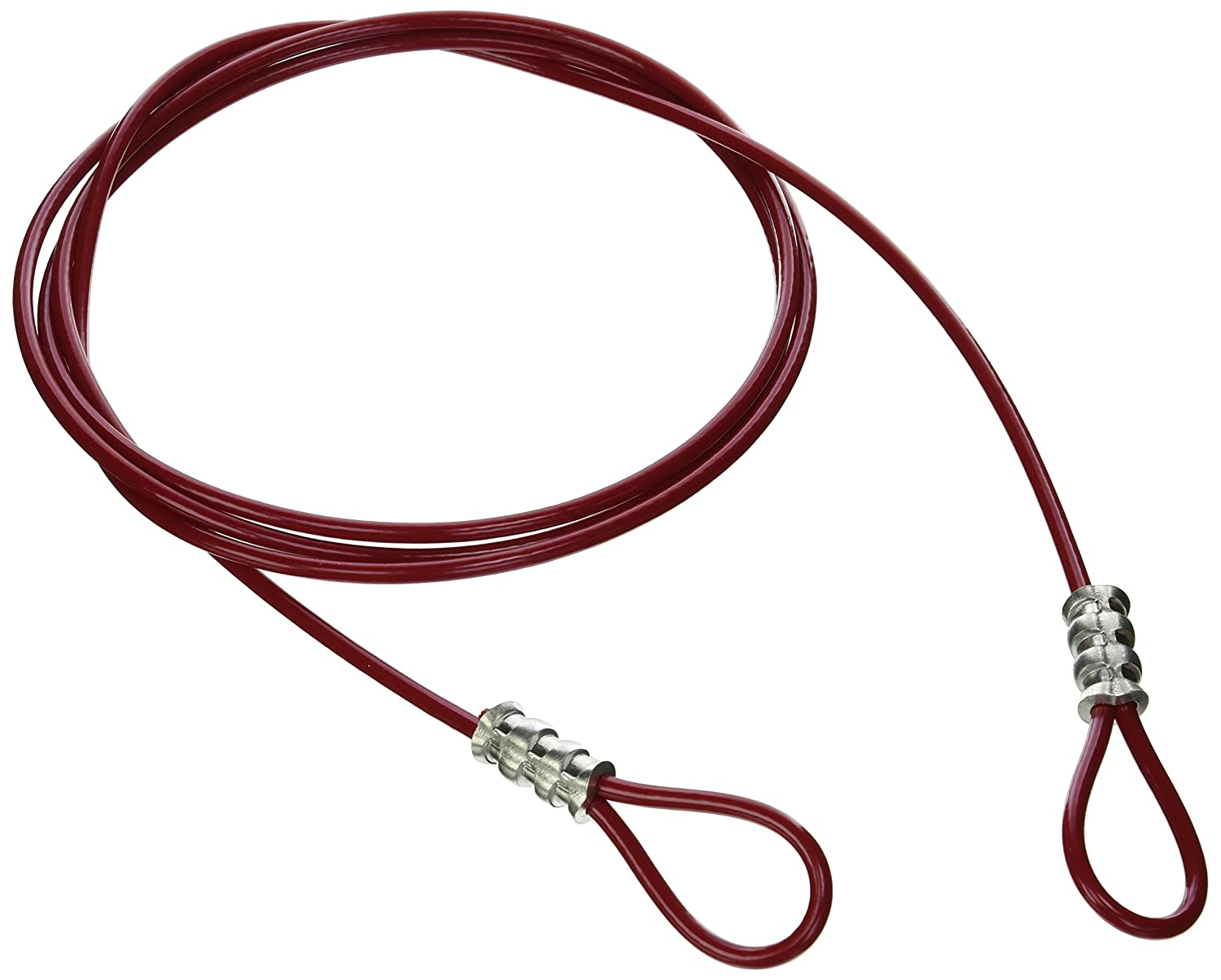 Brady 131066 Double Looped Lockout Cable, Plastic Coated Steel, 8' Cable, Red