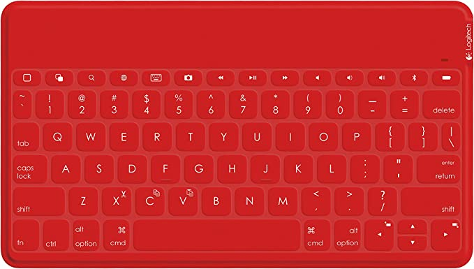Logitech Keys-To-Go Bluetooth QWERTY Español Rojo teclado para móvil - Teclados para móviles (Rojo, QWERTY, Español, iOS, Batería, USB)