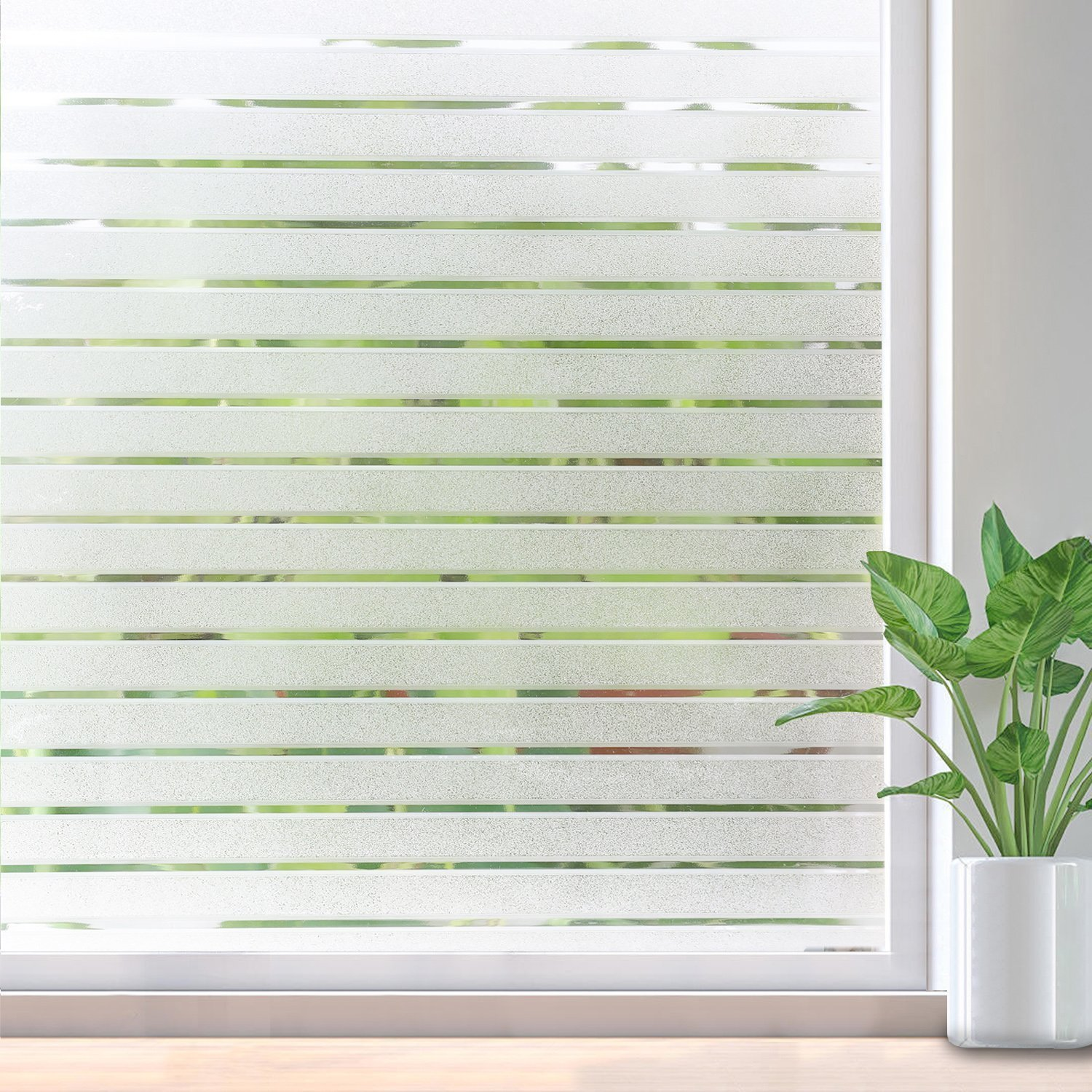 RABBITGOO Frosted Window Clings Privacy Etched Glass Window Film Window Frosting Film Non-Adhesive Window Stickers, 44.5x150cm (Frosted Stripe,17.5'' x 59'') by RABBITGOO (Image #2)