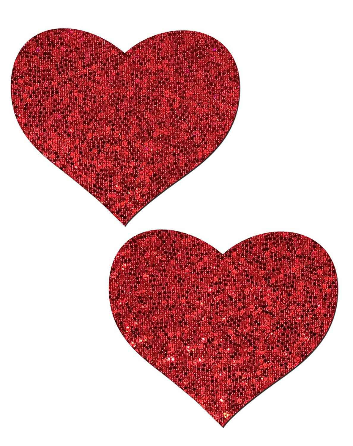 Red Glitter Heart Nipple Pasties by Pastease® o/s HRT-GLT-RD
