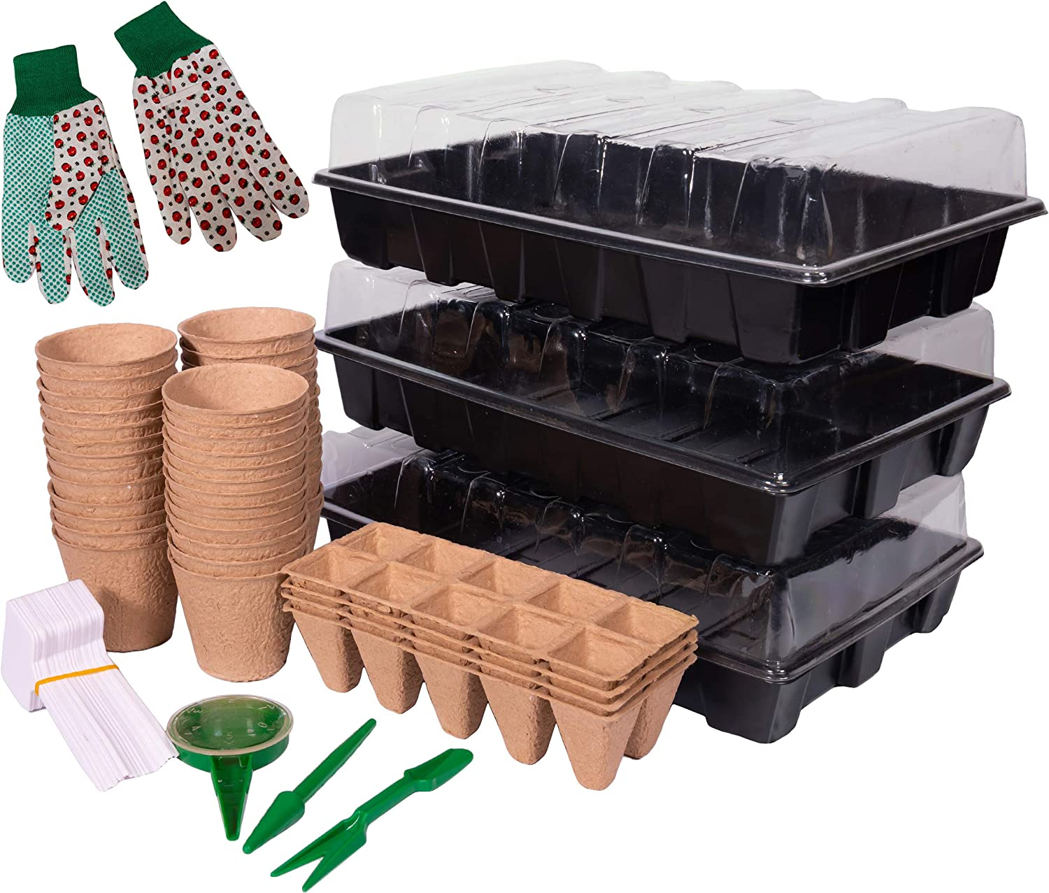 Biodegradable Seed Starter Kit - Seed Starter Trays with Humidity Dome and Base | Germination Trays for Vegetable and Flower Indoor / Outdoor Gardening