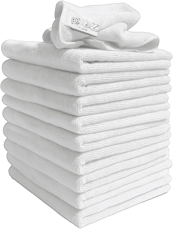Exel 10 Stück Original Weiß Super Magic Flusenfreie Mikrofaser Reinigungstücher Für Polieren Waschen Wachsen Und Staubwischen Küche Haushalt