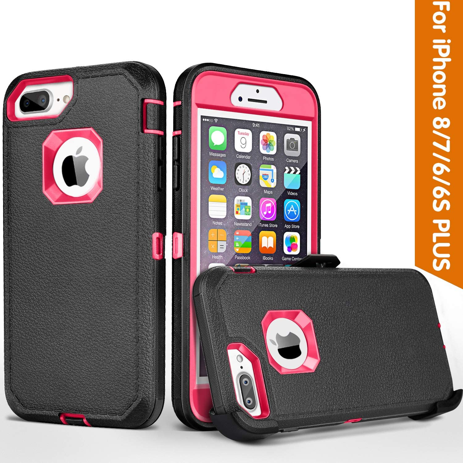 FOGEEK iPhone 8 Plus Case,iPhone 7 Plus Case,iPhone 6s Plus Case, [Dust-Proof] Belt-Clip Heavy Duty Kickstand Cover[Shockproof] for Apple iPhone 8 Plus,iPhone 7 Plus,iPhone 6/6s Plus (Black/Rose)