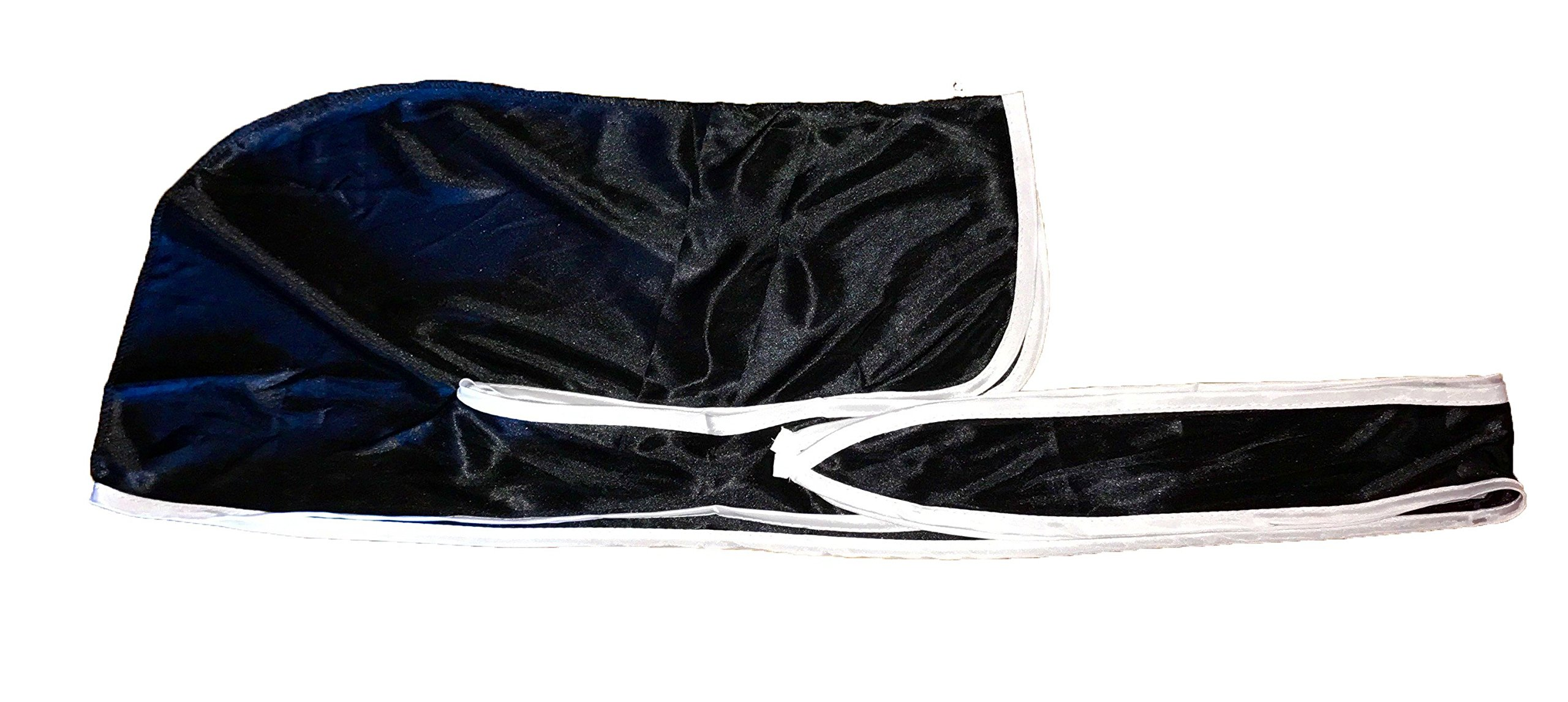 Rimix Silky Durag 360, 540, and 720 Waves Extra Long and Wide Straps Limited Edition (Black/White)