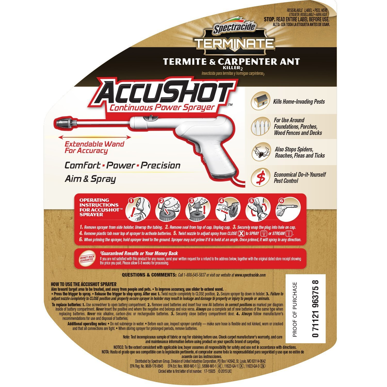 Spectracide Terminate Termite & Carpenter Ant Killer2 (AccuShot Sprayer) (HG-96375) (Pack of 4) by Spectracide
