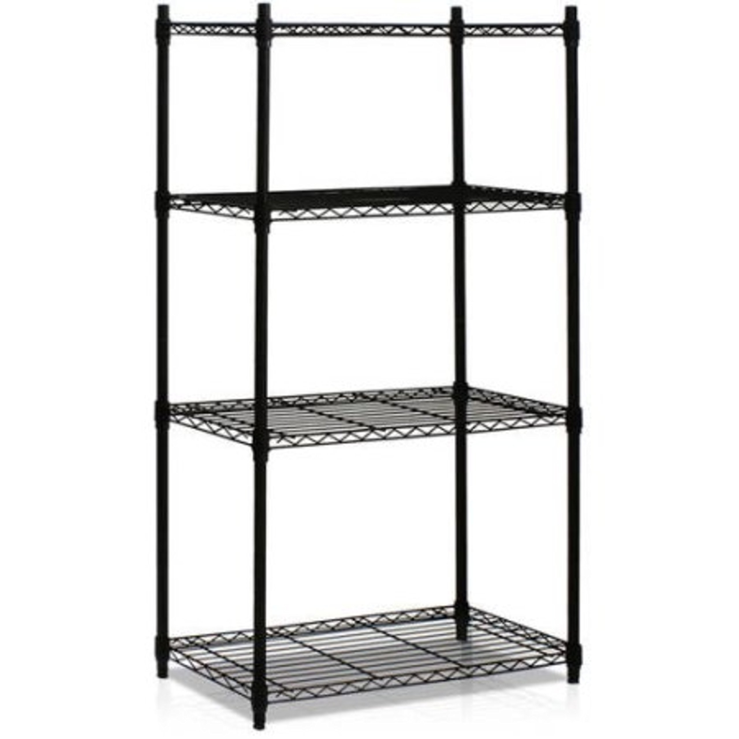 4-Tier Heavy-Duty Industrial Strength Black Chrome Wire Shelving