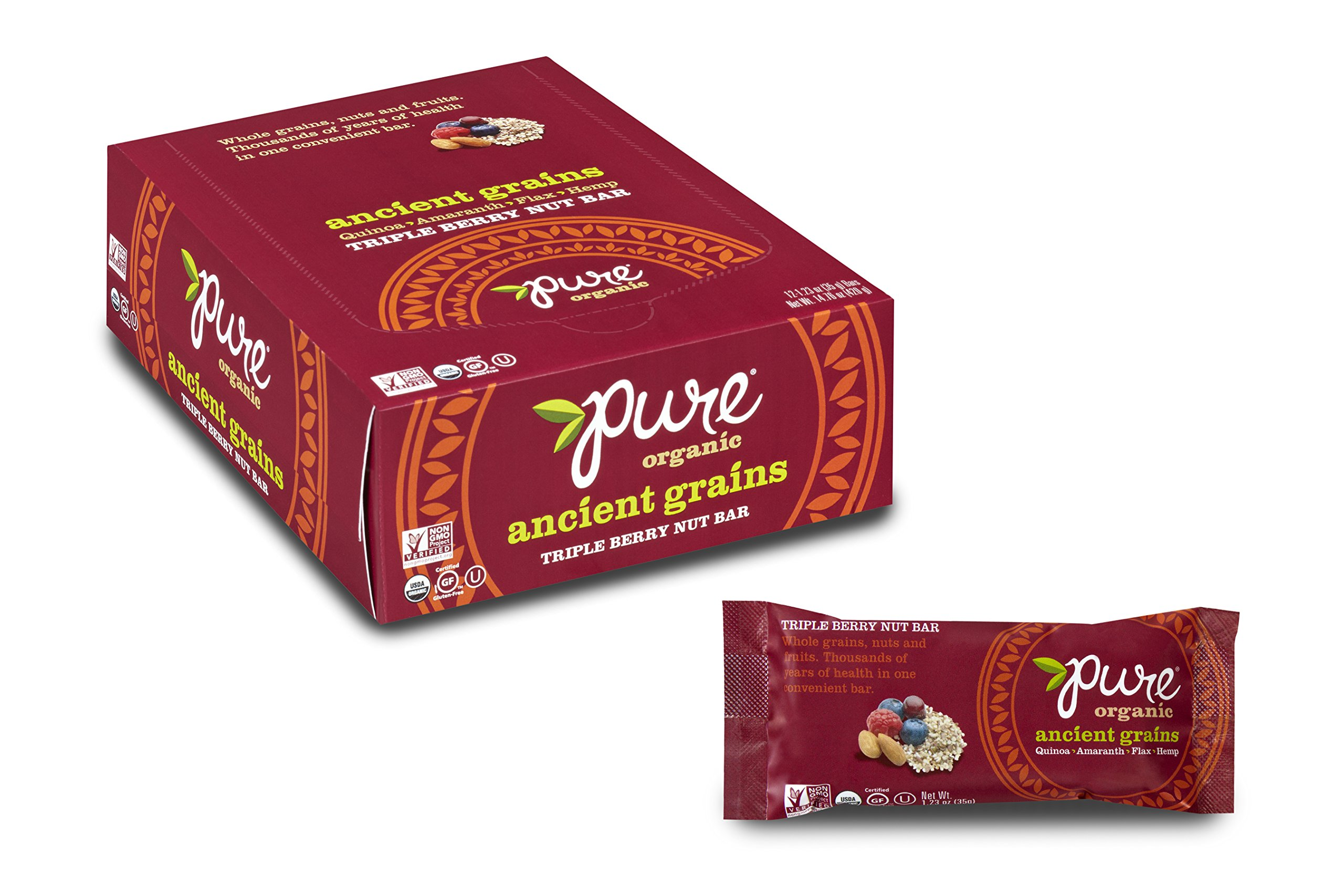 Pure Organic Triple Berry, Ancient Grain and Nut Crispy Bar, Gluten-Free, Certified Organic, Non-GMO, Vegan, Kosher, Plant Based Whole Food Nutrition Bar, 1.23 ounce (Pack of 12)