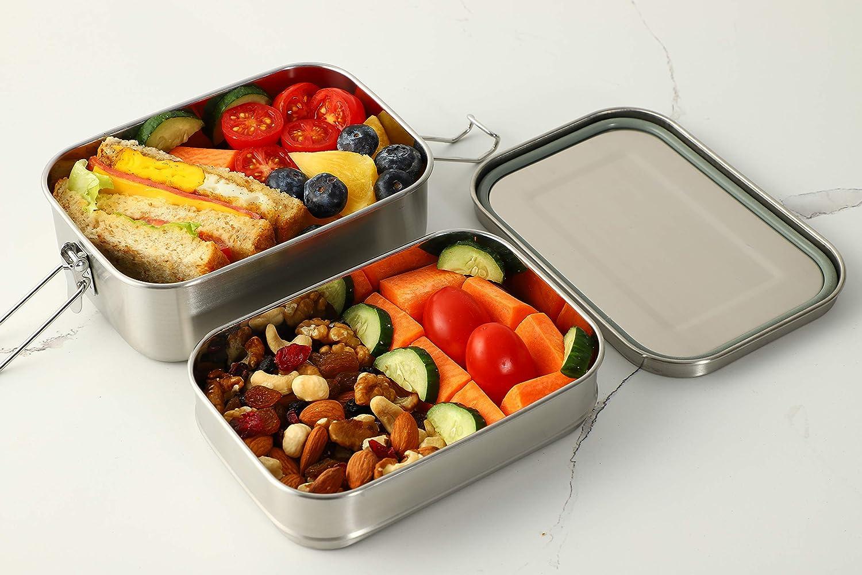 2-in-1 Almacenamiento de Alimentos G.a HOMEFAVOR Cajas para el Almuerzo de Acero Inoxidable Caja de Metal Bento con Clips