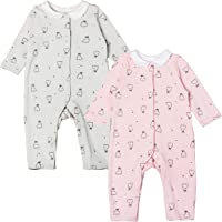 Newborn Baby Girl Romper Bodysuit Cotton Rabbit Print Jumpsuit Pink and Grey, 2 Pack