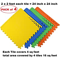 ATNINE EVA Mats for Kids Mat for Floor Exercise Yoga Gym Workout Babies Crawling and Pre School, Multicolour (16 Sq Feet 1 Set)