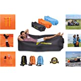 Inflatable Lounger Premium Chair Portable Air Sofa Inflate Easily with Carry Bag Bottle Opener 3 Pockets Use Outdoors as Festival Accessory or Travel Accessory