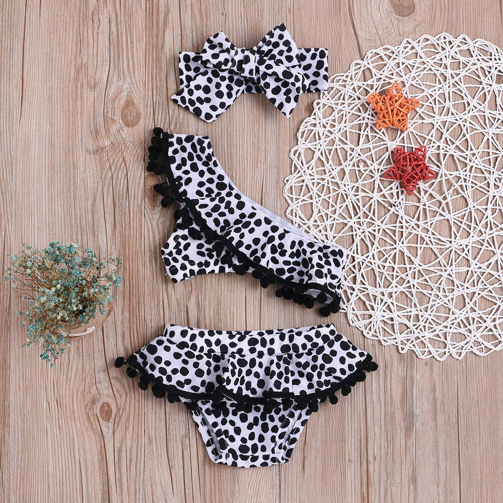 Karuedoo Toddler Baby Girls Bikini Swimsuit Leopard Print Bikini Set Swimwear Beachwear with Headband