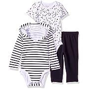 Hanes Ultimate Baby Zippin Pants, Short Sleeve Hoodie Bodysuit Set, Black Stripe, 12-18 Months
