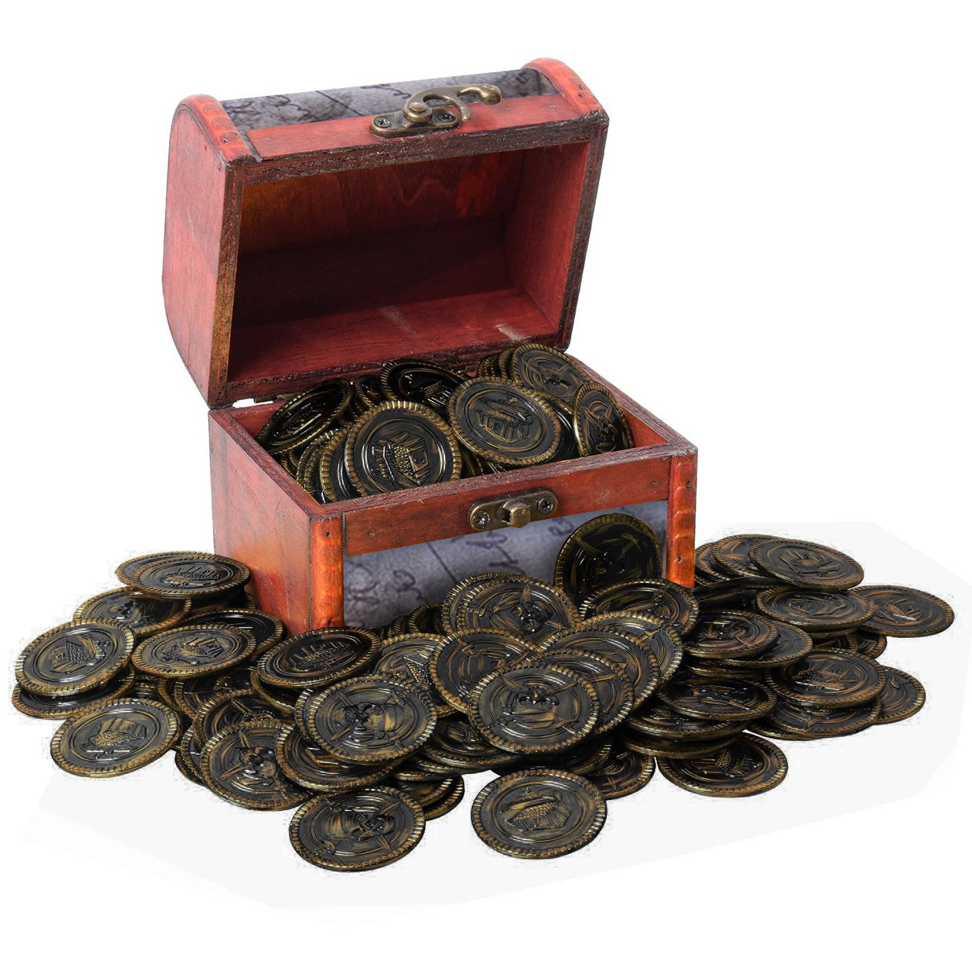 PartyYeah 100 Pcs Pirate Vintage Plastic Fake Gold Coins & Pirate Vintage Treasure Box Chest for Kids Hunt Play Party Favors (Bronze, Coins+Box)