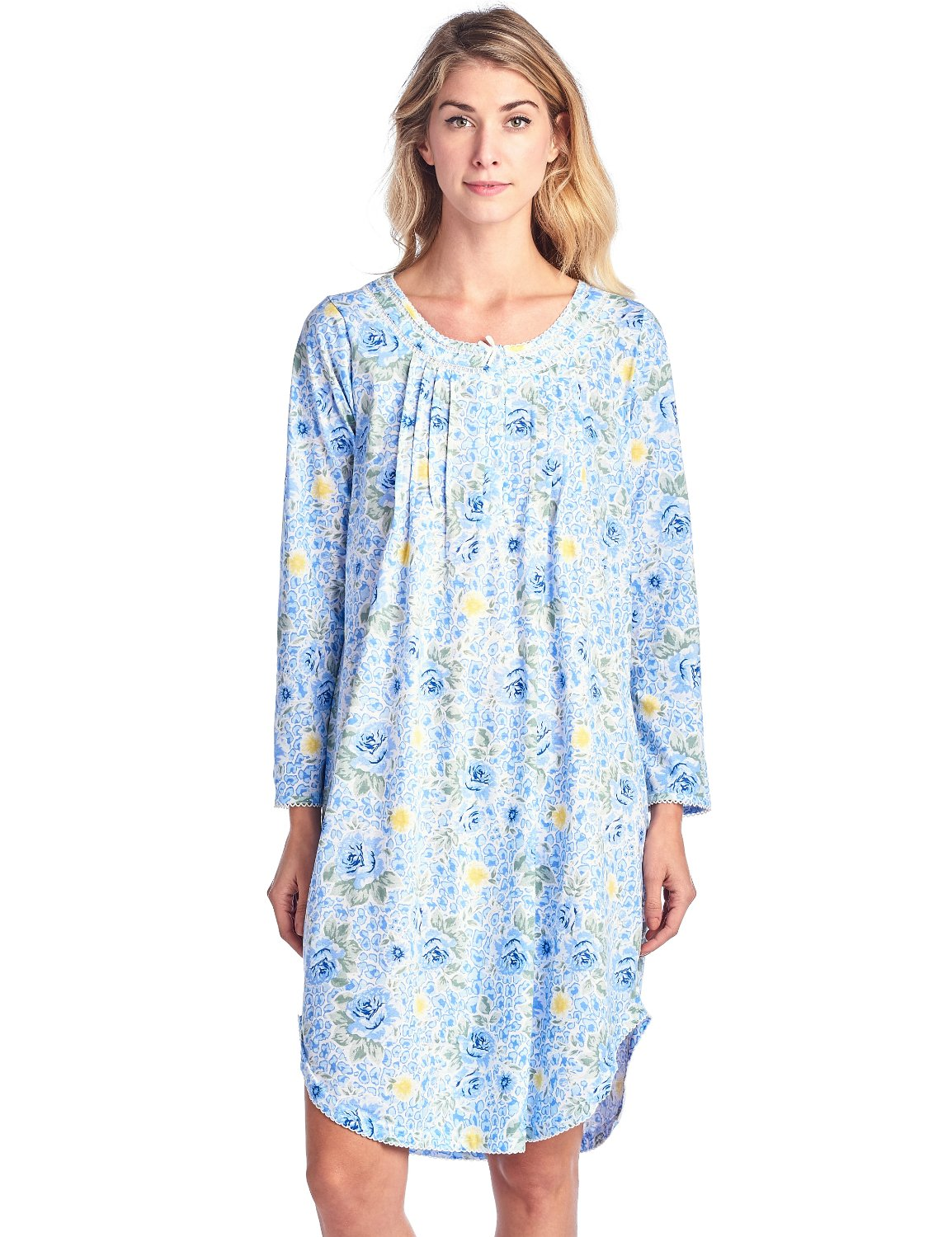 Casual Nights Women's Floral Pintucked Long Sleeve Nightgown - Blue - Large