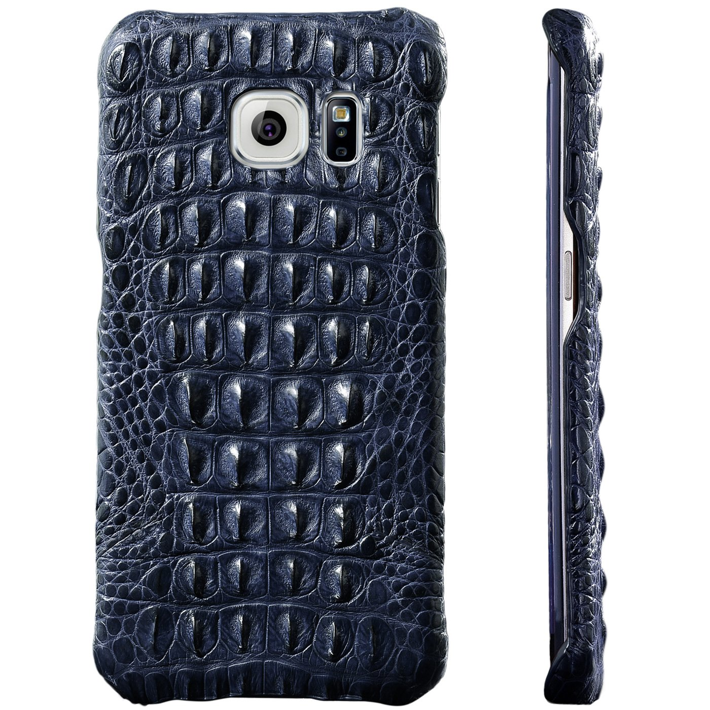UU&T PREMIUM CROCO - 100% Handmade Alligator [Genuine][Luxury] Protective Case with Crocodile Artifact[Simple Design] for Samsung G9280/S6 Edge+ 5.7''(Back Leather) (Dark Blue)