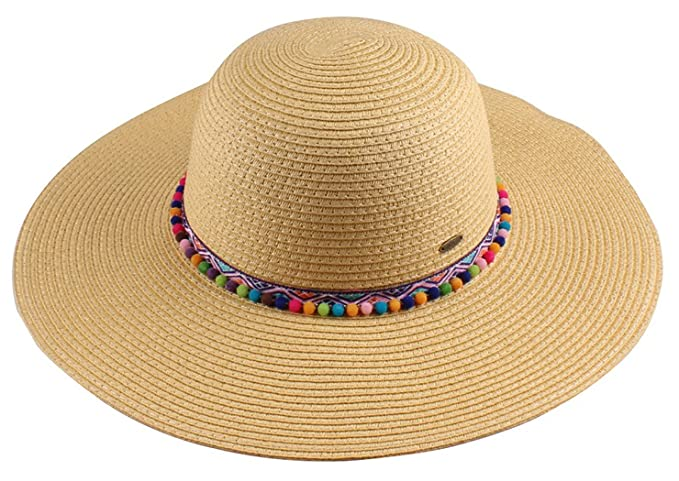 Hippie Hats,  70s Hats Funky Junque Womens Pom Tassel Packable Adjustable Straw Beach Floppy Sun Hat $19.99 AT vintagedancer.com