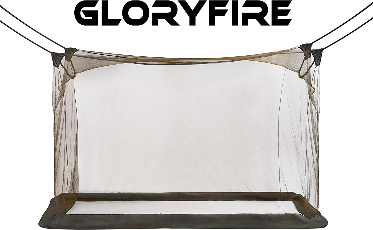 GLORYFIRE Camping Mosquito Net Four Corners Enhanced Tactical Mosquito Net Outdoor Mosquito Net Bar Olive Drab