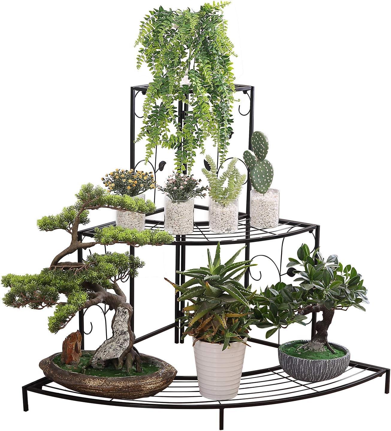 Acornfort G311 3 Tiers Large Black Metal Garden Plant Flower Display Stand Outdoor Corner Shelves 85 X 60 X 65 Cm Amazon Co Uk Garden Outdoors