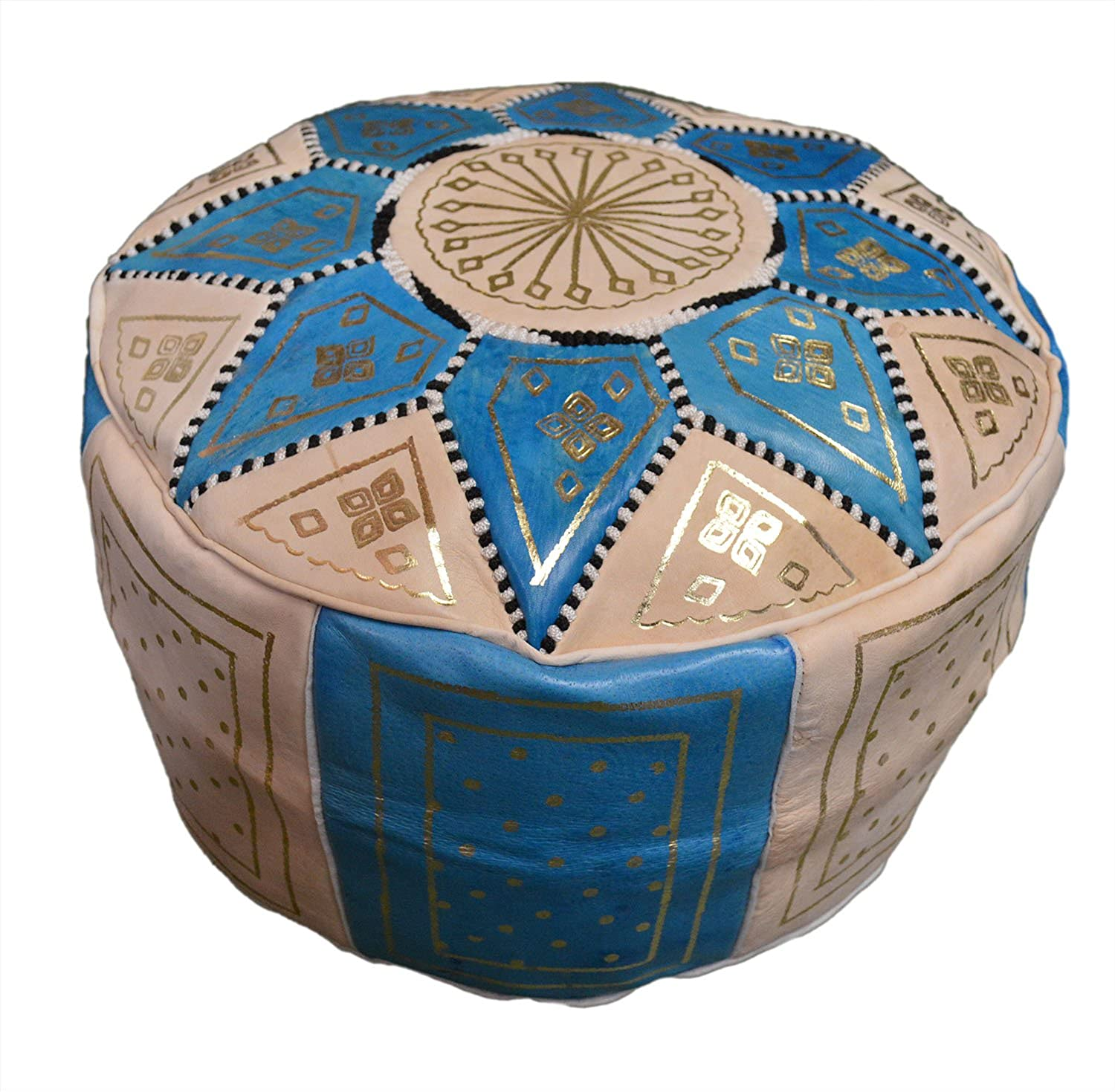 Moroccan Pouf Hand Made 100 Leather Ottoman Comfortable Footrest Hassock Unstuffed