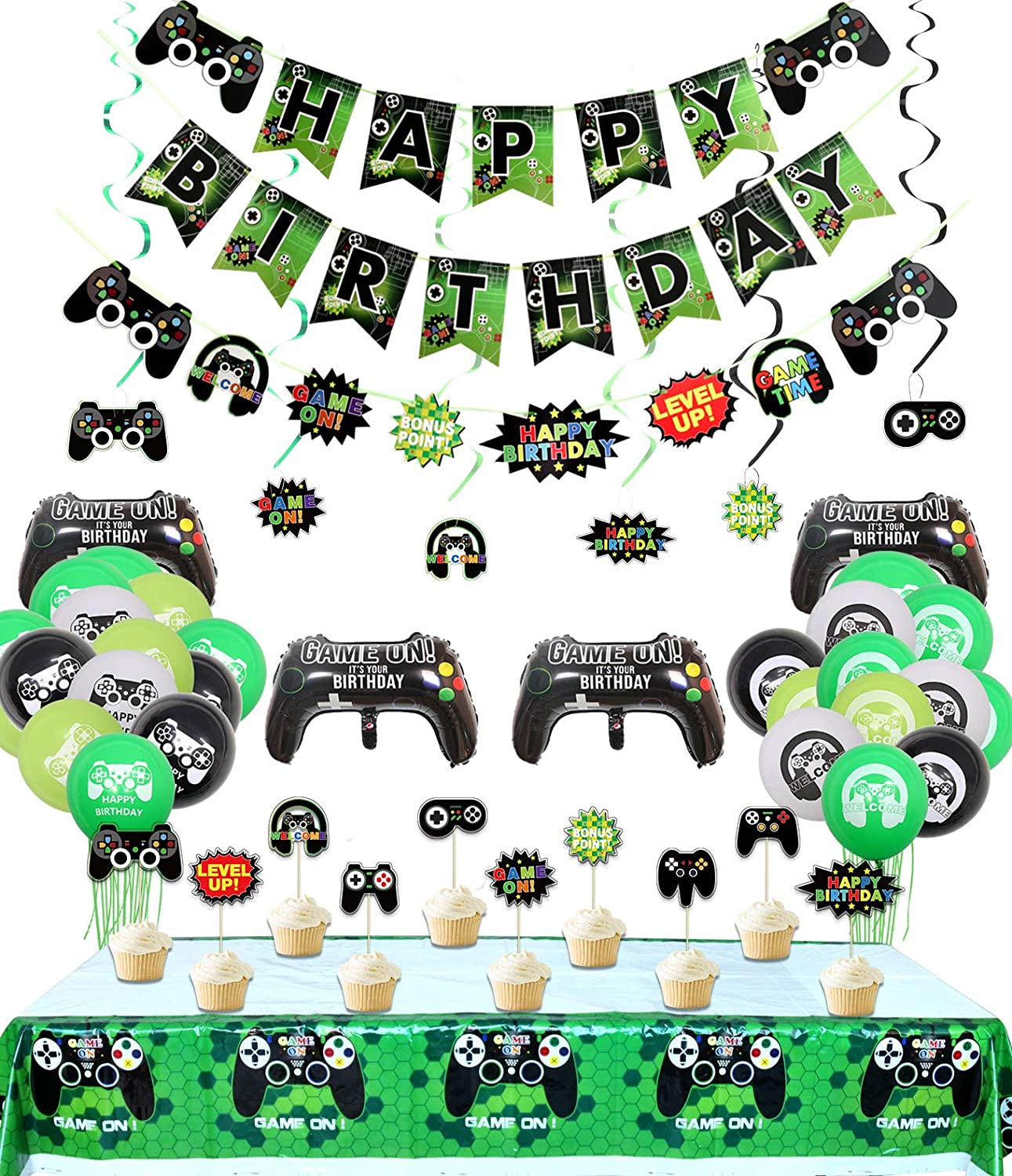 Video Game Party Decorations, 3 Set HAPPY BIRTHDAY Gaming Banner, 1 Pcs Table Cloth, 6 Pcs Hanging swirls, 10 Pcs Cake Topper and 24 Pcs Game Themed Balloons for Gamer, Boys Birthday Party Supplies