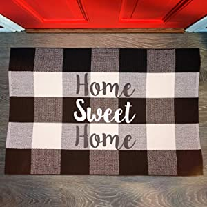 Farmhouse Buffalo Plaid Rugs Black and White Cotton Checkered Rug Welcome Door Mat Rug for Kitchen Carpet Bathroom Outdoor Porch Laundry Living Room Braided Throw Mat Washable(23.5X 35.5)