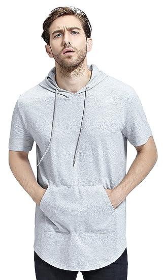 Bertte Mens Hipster Hip Hop Longline Curved Hem Short Sleeve Hoodie Zipper T -shirt ,