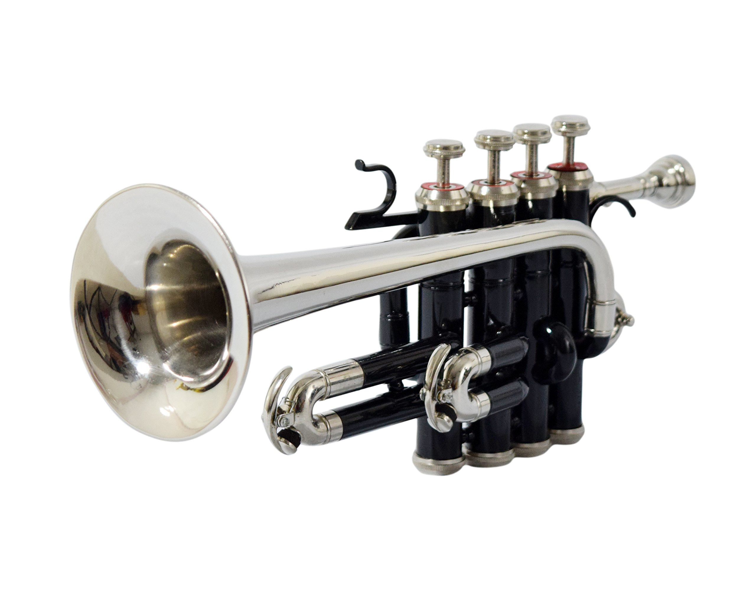Moonflag PICCOLO TRUMPET Bb PITCH BLACK COLOR + NICKEL WITH CASE AND MP