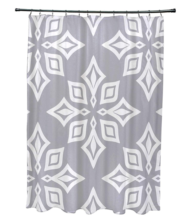 Geometric Print Shower Curtain Gray E by design SCGN480GY1 Beach Star