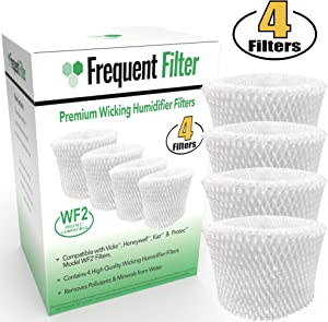 4 Pack | Frequent Filter | Vicks / Kaz / Protec Compatible Cool Mist Humidifier Replacement Model WF2 & PWF2 Filter | Germ-Free Wicking Filters for Starry Night Humidifiers. New 2020 Upgraded Model