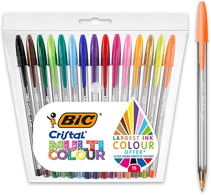1.6 mm BIC Cristal Fun Ballpoint Pens Wide Point Box of 20 Assorted Colours