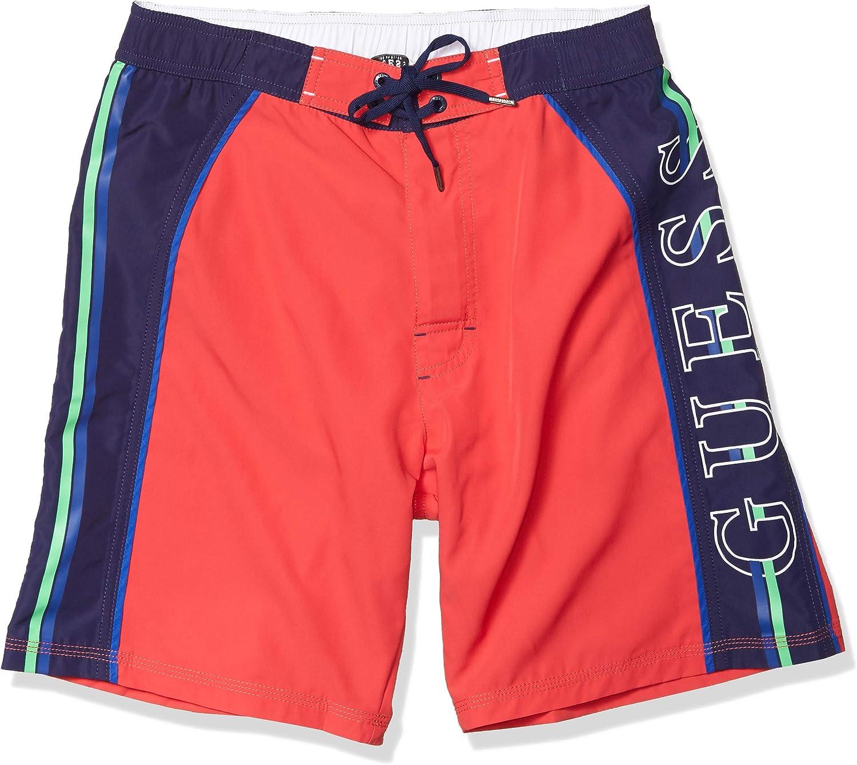 GUESS Men's Solid Drawstring Short Swim Trunk