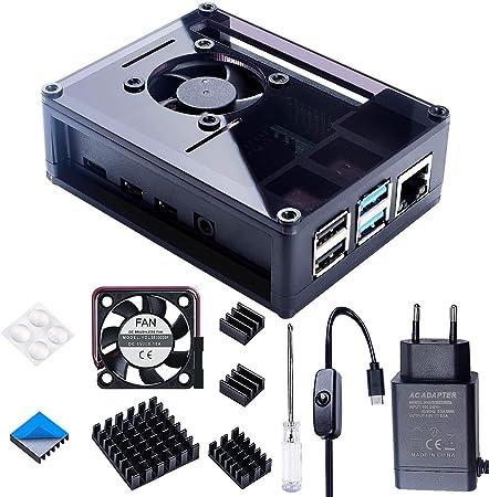 Bruphny Gehäuse Für Raspberry Pi 4 Mit 35mm Lüfter Und Computer Zubehör