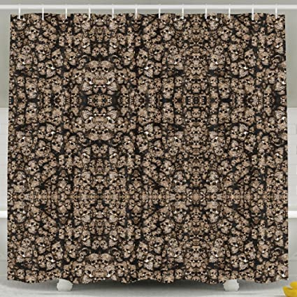 Decorative Skulls In Silver And Gold Shower Curtain Fabric Bathroom Set72x60 Inch