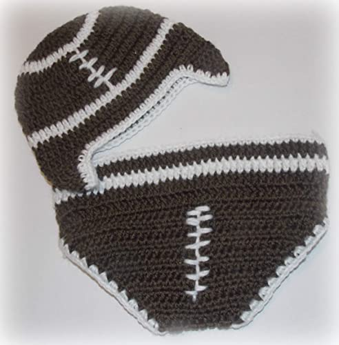 Amazoncom Infant Baby Hand Crocheted Football Hat And Diaper Cover