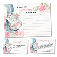 25 Pink Elephant Jungle Baby Shower Invitations and Envelopes (Large Size 5X7 INCHES), 25 Diaper Raffle Tickets, 25 Baby Shower Book Request Cards, Floral Elephant Animal Invites for Girl Baby Showers