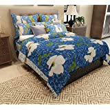 Home Candy 144 TC Floral Attractive Cotton Double Bedsheet with 2 Pillow Covers - Blue