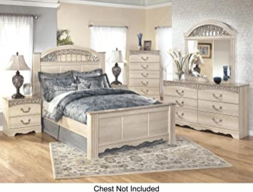 ashley catalina queen bedroom set with panel bed dresser mirror and nigthstand in antique