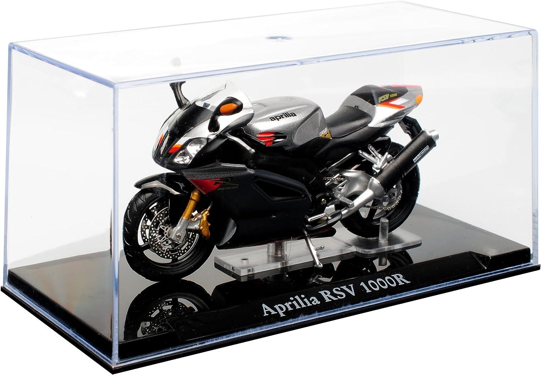 Atlas Collections Modell Motorrad Aprilia RSV 1000R silber 4110103 auf Sockel