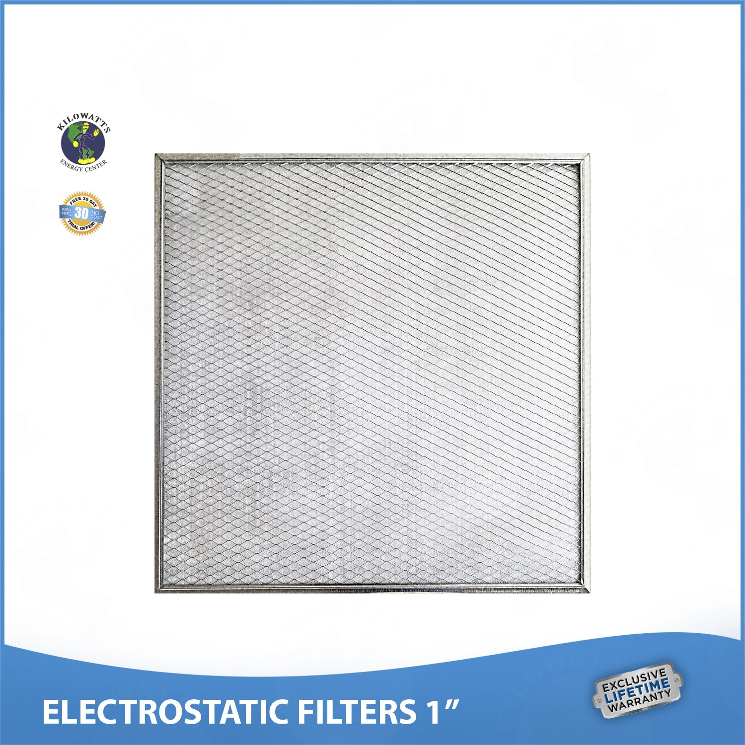 16-3/8 x 21-1/2 x 1 Lifetime Air Filter - Electrostatic Washable Permanent A/C Furnace Air Filter. 65% more efficiency