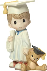 Precious Moments I Did It Graduation Boy with Diploma & Teddy Bear Bisque Porcelain Home Decor Collectible Figurine 173015,Multicolor