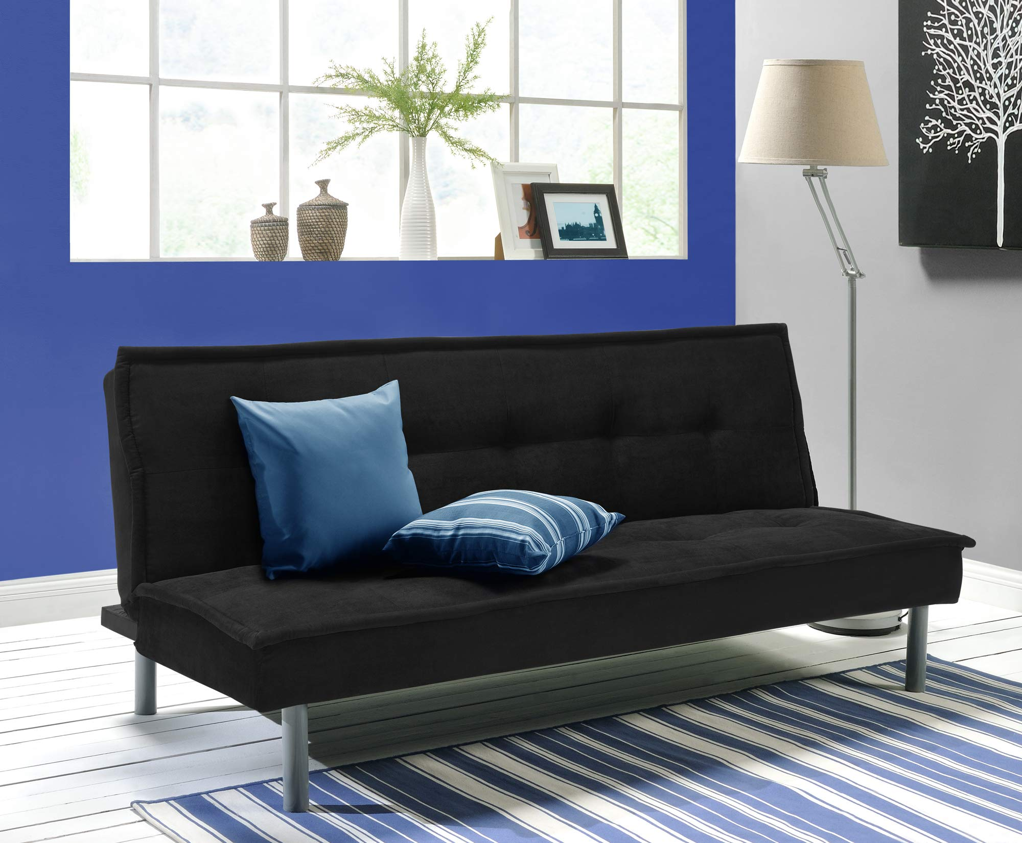 DHP Kent Convertible Microfiber Couch Bed with Sturdy Metal Legs, 600 lbs, Small - Black by DHP
