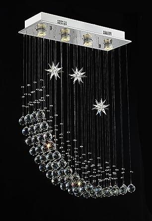 WENSENY Cristal Lámpara de araña con 4 luces Lámpara Cristal ...