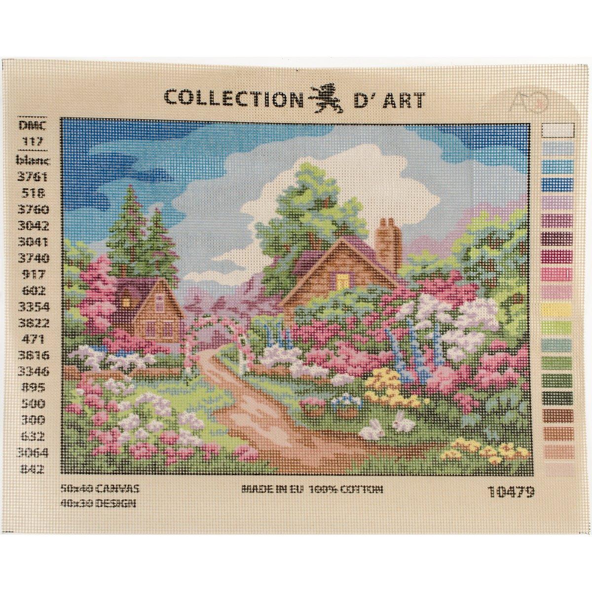 40 x 50cm RTOFlower Gate DArt Needlepoint Printed Tapestry Canvas