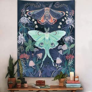 Puurbol Moon Moth Tapestry for bedroom aesthetic Mushroom Butterfly Floral Wall Hanging