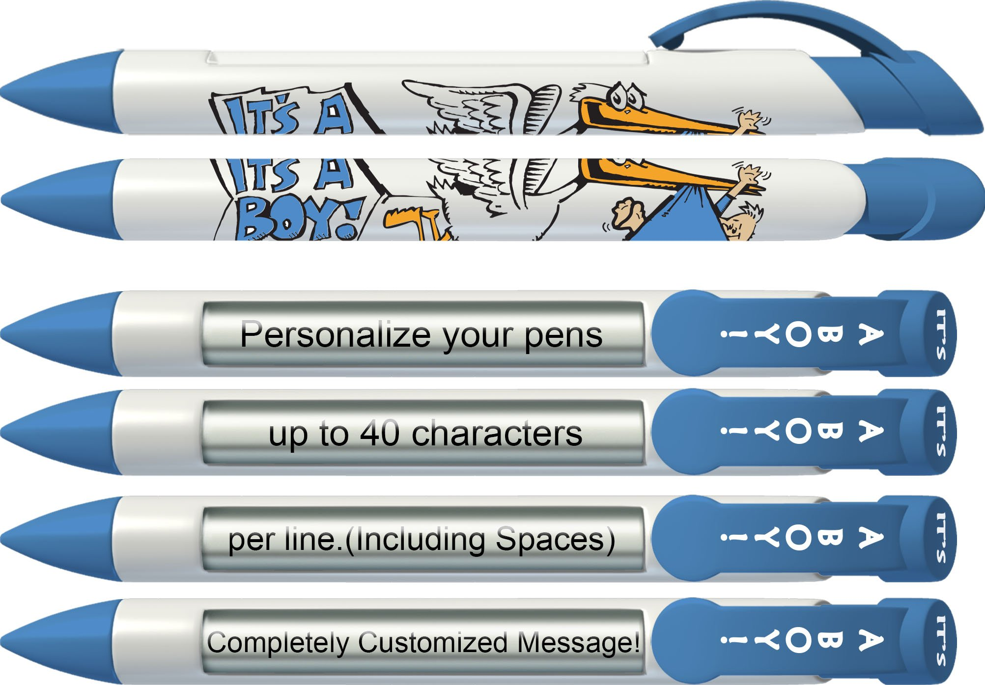 Greeting Pen Personalized It's a Boy Stork Shower Favor/Birth Announcement Rotating Message Pen - 25 Pack (P-BP-23-25)