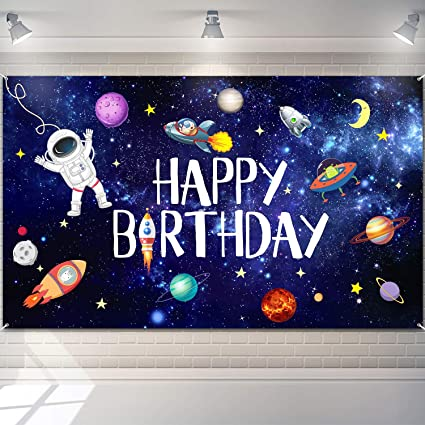 Astronaut outer space party printable photo booth prop dessert table backdrop wall art poster with rocket space ship