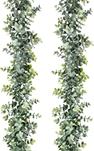 """DearHouse 6.2' Long 5.9"""" Wide Faux Eucalyptus Leaves Garland Fake Artificial Hanging Eucalyptus Greenery Garland in Grey Green for Wedding Holiday Decorations UV Protected Indoor Outdoor"""