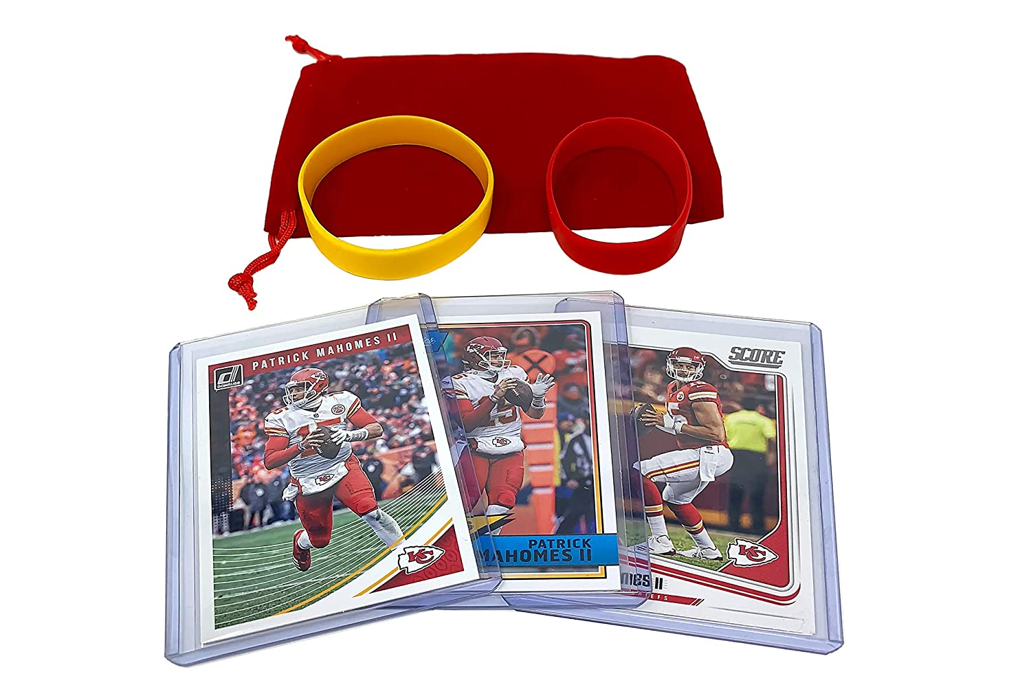 Patrick Mahomes Football Cards (3) Assorted Bundle - Kansas City Chiefs Trading Card Gift Set Panini Bowman Topps