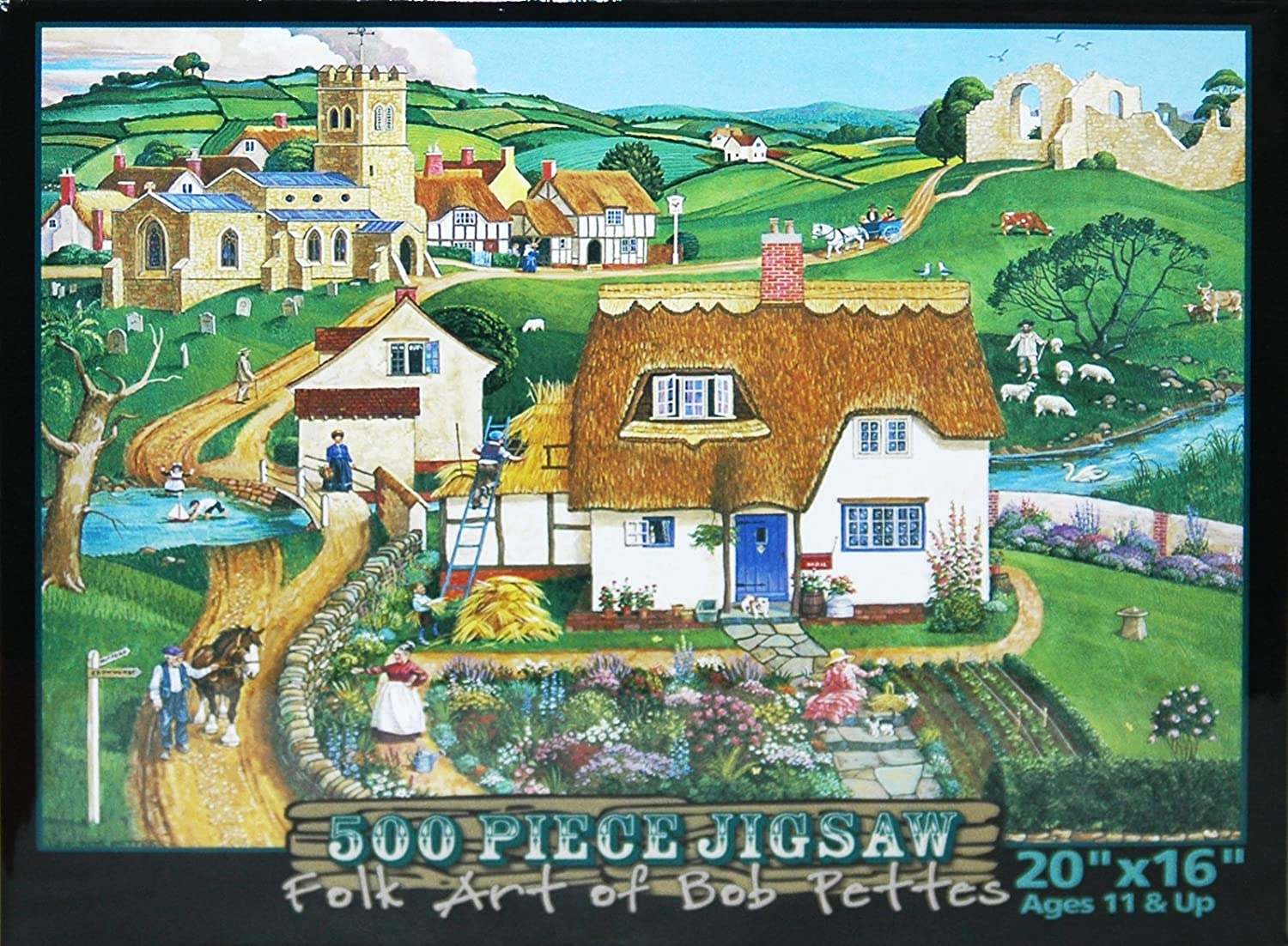 Folk Art of Bob Pettes 500-Piece Jigsaw Puzzle  bleu Gate Cottage